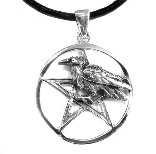Amulett Rabe mit Pentagramm 925er Sterling Silber