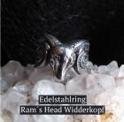 Ring Widderkopf Ram Head aus Edelstahl