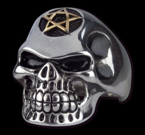 Ring Pentagramm Skull Totenkopf aus Edelstahl
