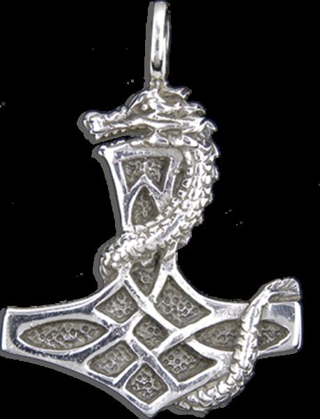 Thors hammer mit Drachen aus Silber