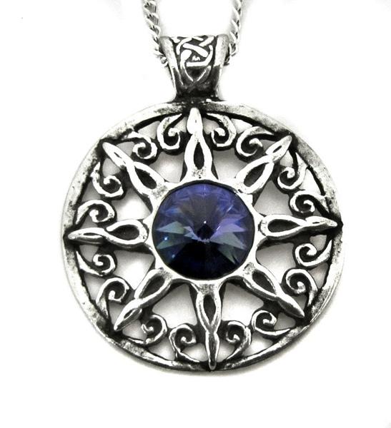 Amulett Stern Zirkonia Blau