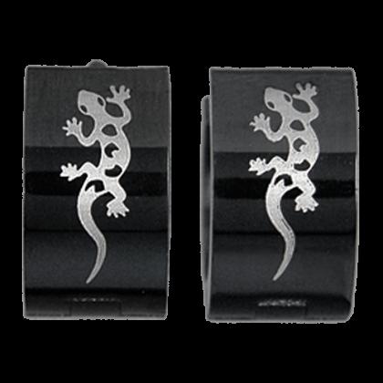 Schwarze Creolen mit Gecko Ohrringe Schmuck