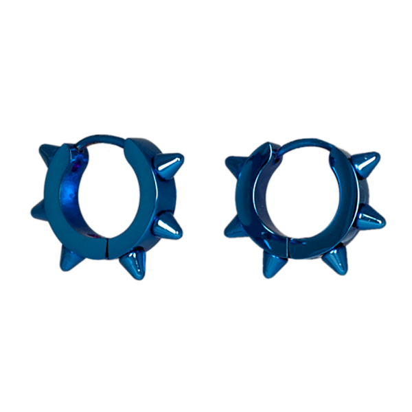 Nietenohringe aus Edelstahl metallic blau