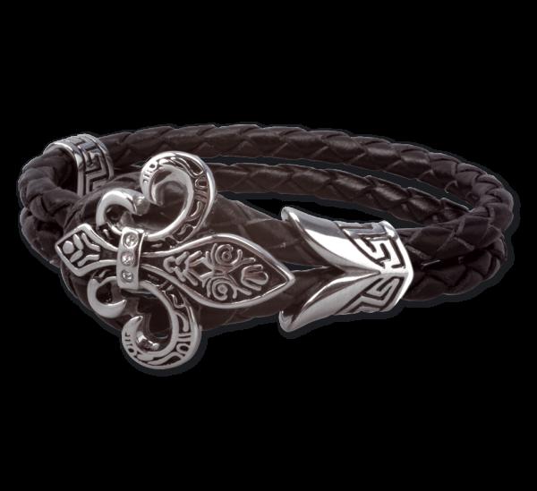 Lederarmband Armband Fleur-de-Lys Lilie aus Edelstahl
