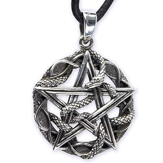 Amulett Schlange mit Pentagramm 925 Sterling Silber Höhe 2,6cm