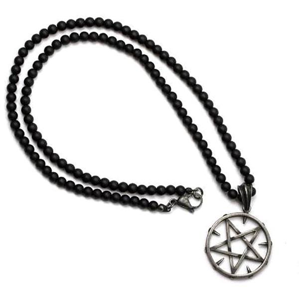 Schwarze Halskette Spike Pentacle aus Glasperlen mit Edelstahl L 66cm