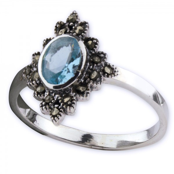 Damenring 925er Silber mit Blauen Zirkonia und Markasit Höhe 1,6cm