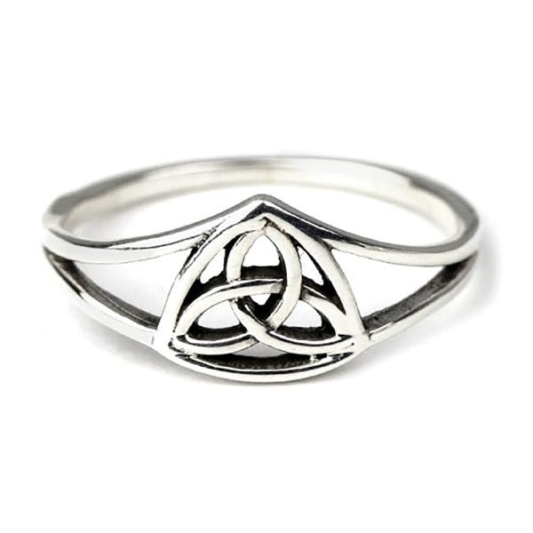 Ring Dreierknoten keltischer Knoten 925 Sterling Silber H 0,8 cm