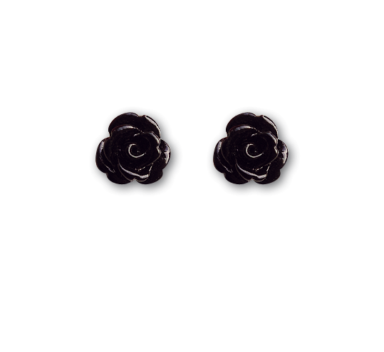 Ohrringe schwarze Rosen Ohrstecker aus 925er Sterling Silber