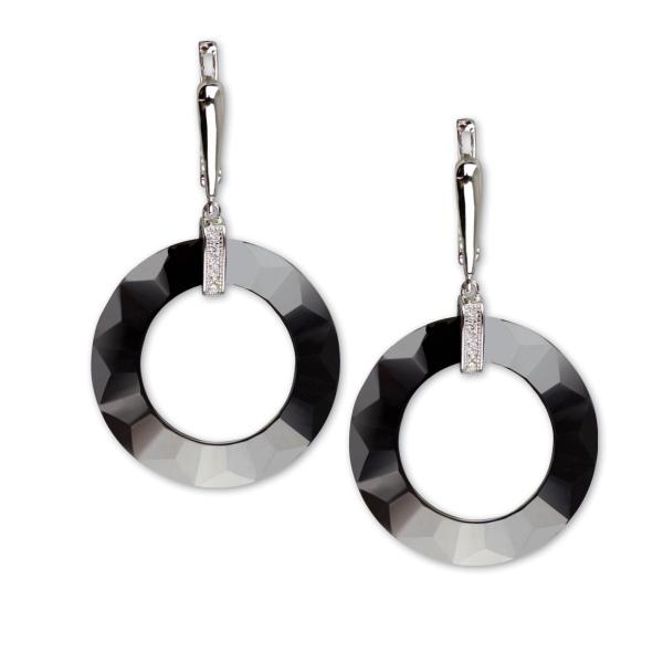Schwarze Ohrringe aus Keramik mit 925er Sterling Silber und Zirkonia Durchmesser 2,5 cm Keramikohrringe