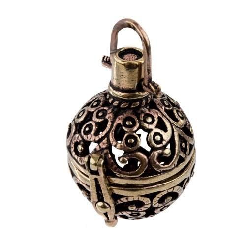 Anhänger Secret Ball Kapsel zum Öffnen aus Bronze für kleine Geheimnisse