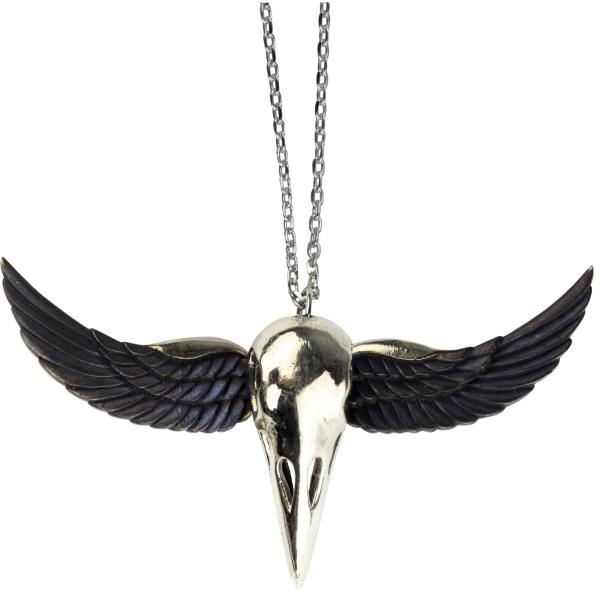 Anhänger Winged Crow Skull Vogelschädel aus Messing mit schwarzen Flügel aus Epoxy