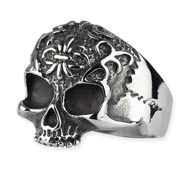 Ornament Skull Totenkopfring aus Edelstahl