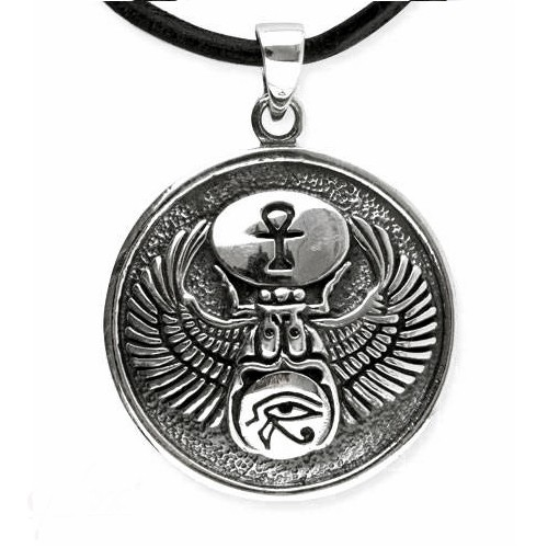 Ägytisches Amulett mit Skarabäus Horus Auge Ankh aus 925 Sterling Silber