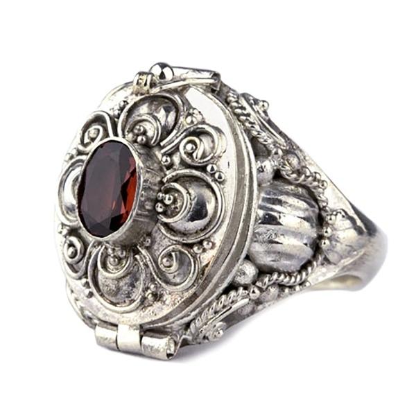 Giftring zum Öffnen im Gothic Stil 925 Silber mit Granat