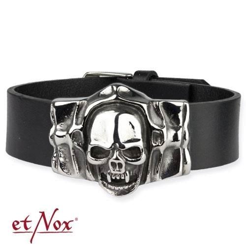 Schwarzes Lederarmband Mummy Skull Totenkopf aus Edelstahl
