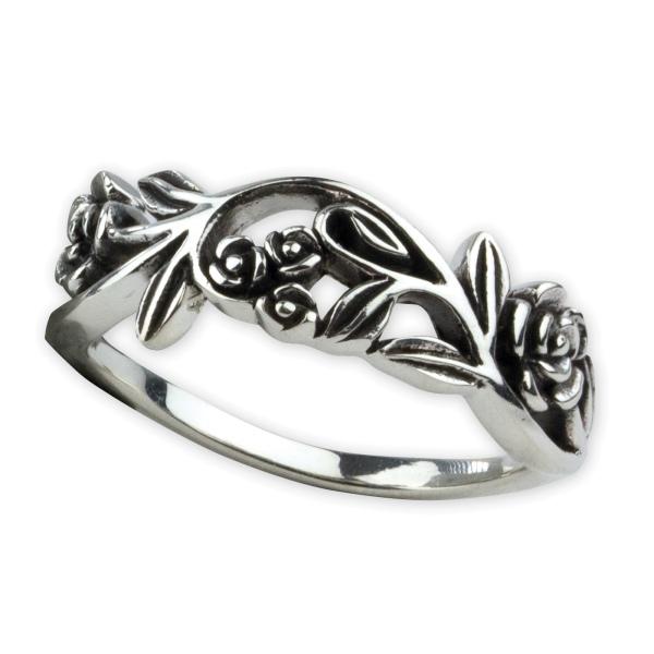 Ring Rosenranke Rose 925 Sterling Silber Höhe 0,6cm
