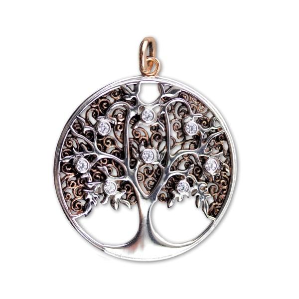 Lebensbaum Baum des Lebens Bicolor 925er Sterling Silber