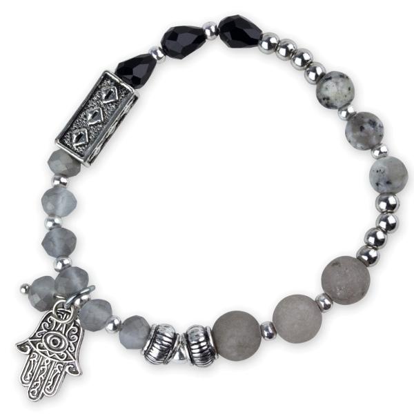 Armband mit Anhänger Fatimas Hand aus schwarzen Glastropfen, Perlen aus Quarz und silbernen Zierelementen