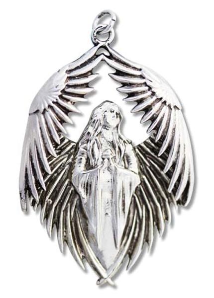 Anhänger Engel Gebet für die Gefallen von Anne Stokes aus poliertem Zinn inkl Kette