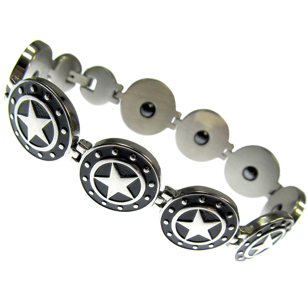 Armband Black Stars Sterne aus Edelstahl Länge 20 cm