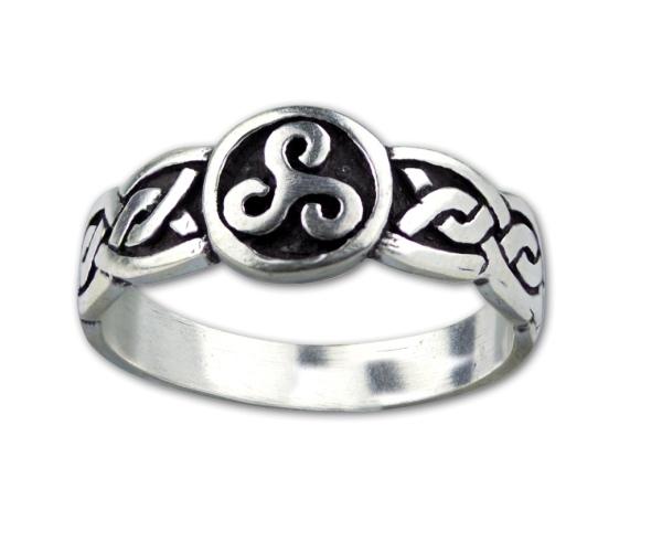 Ring keltische Triskele Dreierwirbel Peitschenrad 925er Sterling Silber