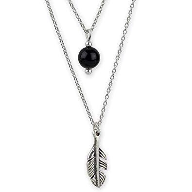 Kette Feder mit Kugel aus schwarzem Onyx 925 Sterling Silber L 40cm +3cm