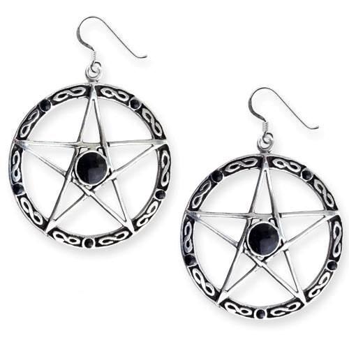 Ohrringe Black Pentagramm Bronze versilbert mit Onyx