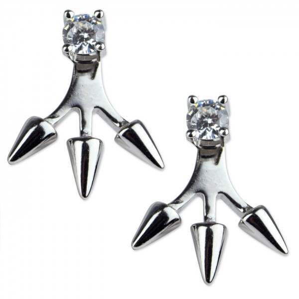 Silberohrstecker 3 Spikes mit Zirkonia weiß 925 Sterling Silber rhodiniert