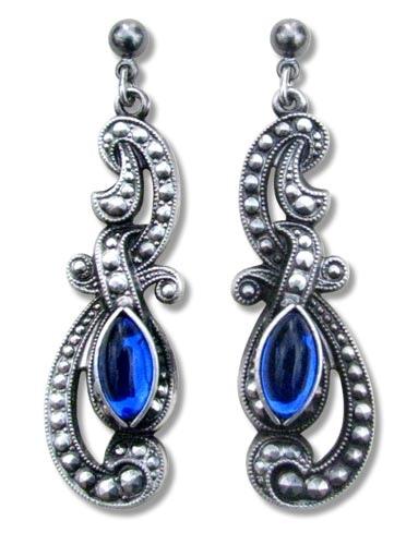 Ohrringe Gothic Beauty antik silberfarben mit blauen Glassteinen