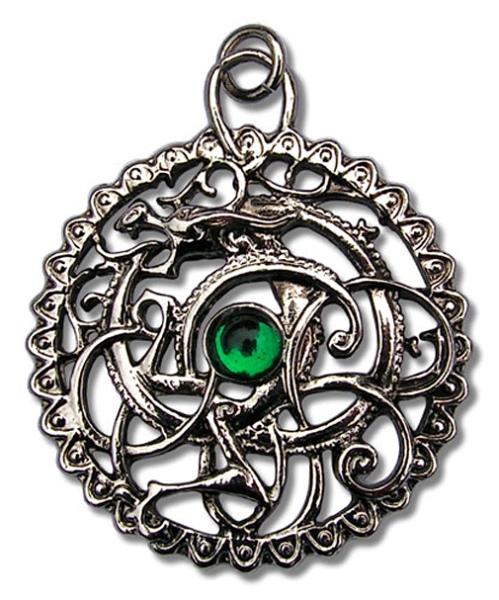 Amulett keltische Schlange aus Zinn mit Zirkonia grün Celtic Druids
