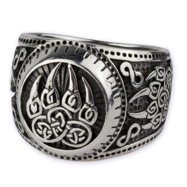 Prächtiger verzierter Silberring mit Bärentatzen aus 925er Sterling Silber