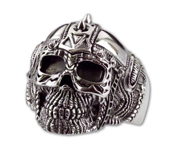 Silberring Biker Skull Totenkopf mit Helm aus 925er Sterling Silber