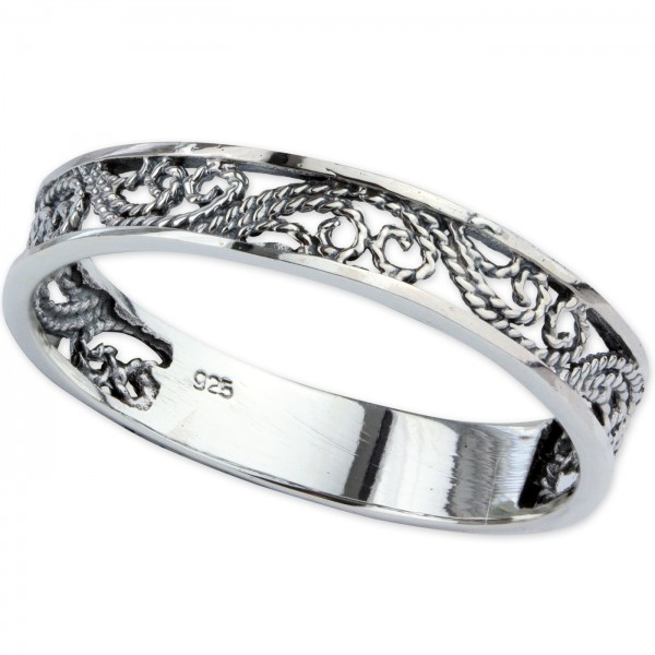 Damenring Elfish Ornament aus 925 Sterling Silber Höhe 0,4cm