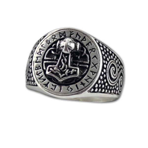 Runder Silberring mit Thors Hammer und Runen aus 925 Sterling Silber
