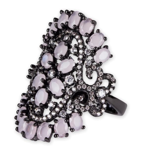 Ring Victoria aus Messing schwarz beschichtet mit Zirkonia und Glas