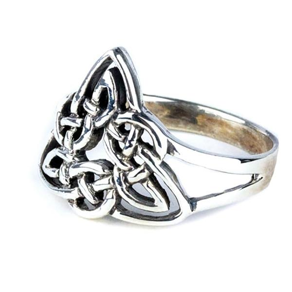 Filigraner, dreieckiger Ring Keltische Knoten aus 925er Sterling Silber