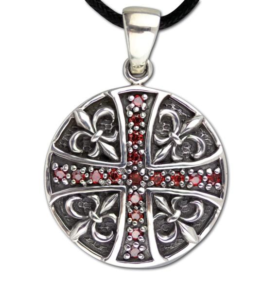 Amulett Lily and Cross Ritterlilien und Kreuz Edelstahl mit roten Zirkonia