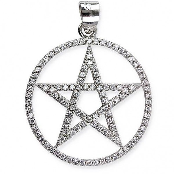 Silberanhänger Pentagramm mit Zirkonia