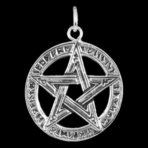 Pentagramm  mit Runen 925er Sterling Silber