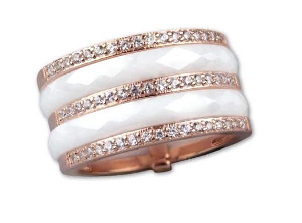 Weißer Ring aus Keramik Breite 1,2cm 925er Sterling Silber mit Rotgold - Beschichtung und Zirkonia