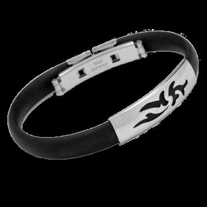 Armband Tribal schwarzer Kautschuk mit Edelstahl Schmuck