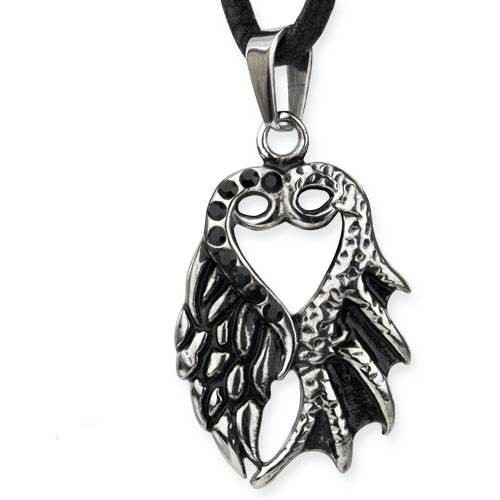 Anhänger Engelsflügel und Drachenflügel mit Herz Edelstahl mit schwarzen Zirkona