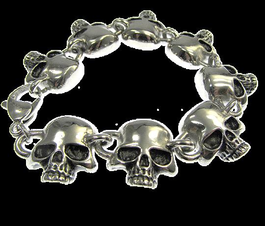 Totenkopf Armband mit 8 Skulls Edelstahl