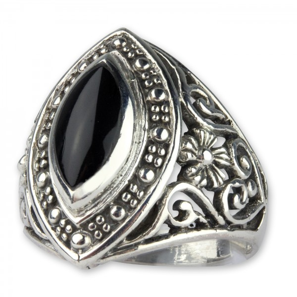Ring Art Nouveau Ornament 925er Sterling Silber mit schwarzem Onyx