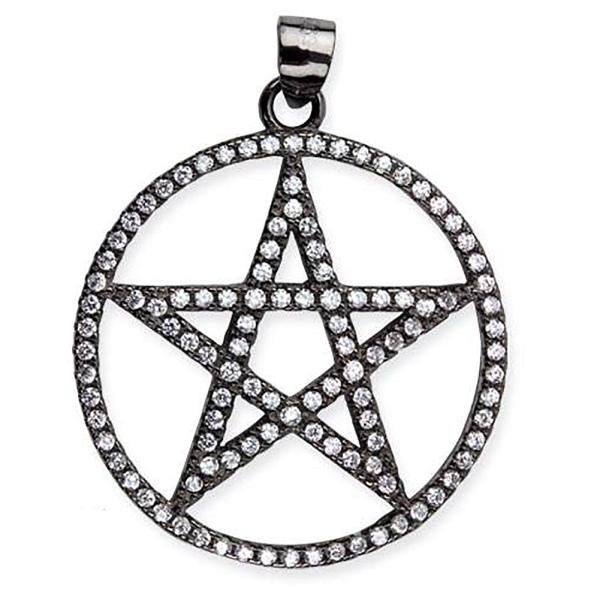 Schwarzer Pentagramm mit Zirkonia