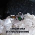 Claddaghring Edelstahl mit grünem Zirkonia