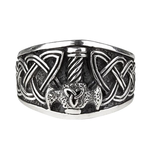 Toms-Silver Ring Thors Hammer mit keltischen Knoten 925 Silber Höhe 1,5 cm