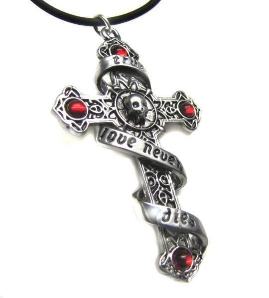 Anhänger Kreuz mit Totenkopf True Love never dies Infinitas by Anne Stokes Zinn mit roten Zirkonia Liebe