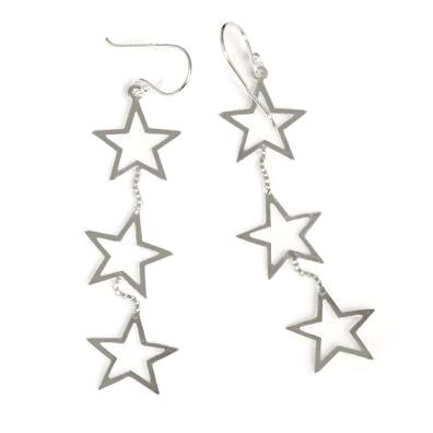 Ohrringe Sternschnuppe Sterne aus 925er Sterling Silber